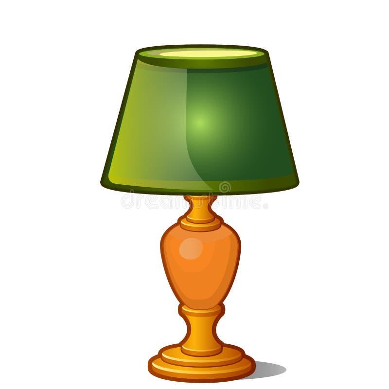 Lámpara de mesa con la sombra verde en estilo del vintage aislada en el fondo blanco Ilustración del vector ilustración del vector