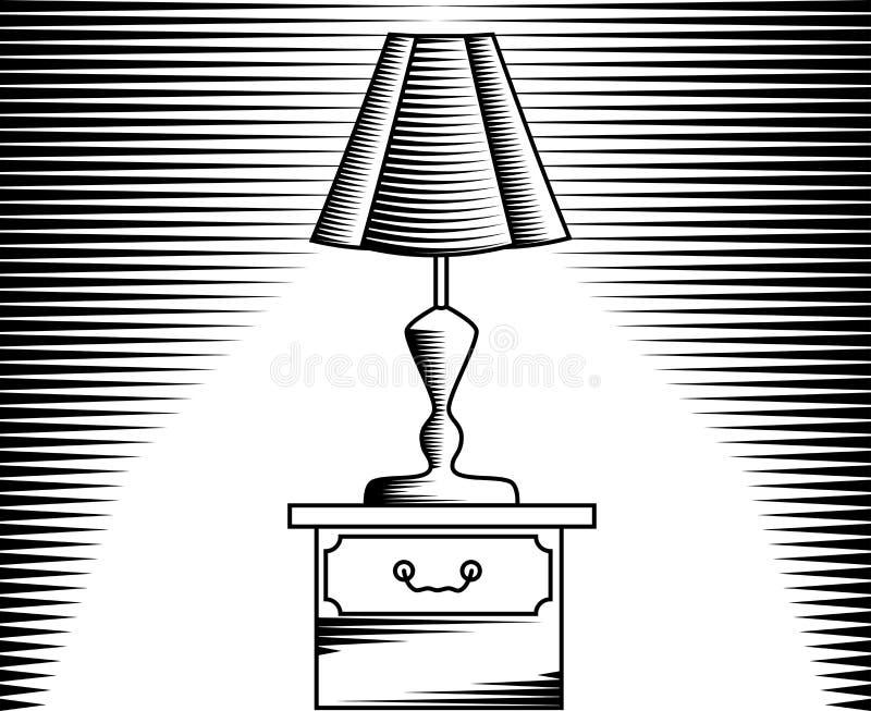 Lámpara de mesa, imagen en linear y grabado stock de ilustración