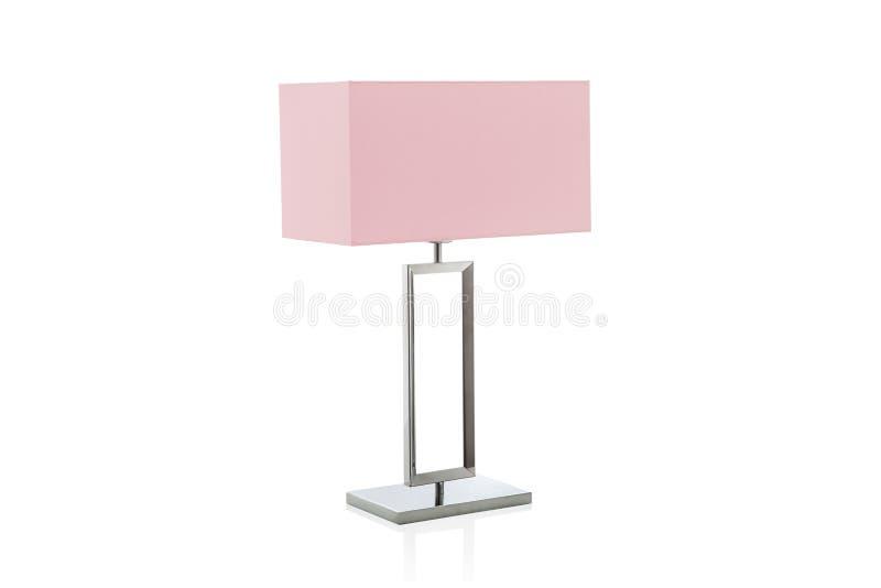 Lámpara de mesa moderna con pequeña pantalla rosada foto de archivo libre de regalías