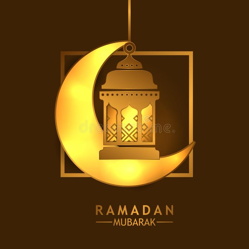 Lámpara de oro de la linterna con el creciente del oro que brilla intensamente para el Ramadán Mubarak y kareem y acontecimiento  stock de ilustración
