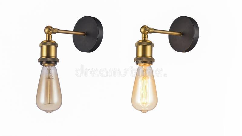 Lámpara de pared de cobre llevada ilustración del vector