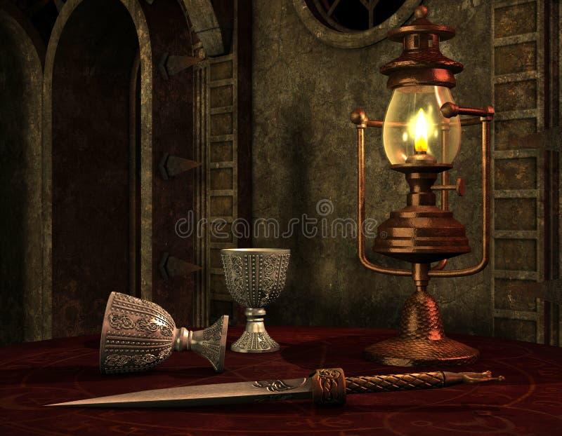 Lámpara de petróleo vieja en un vector libre illustration