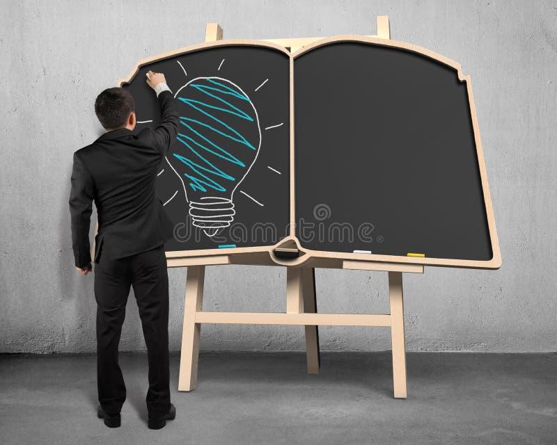 Lámpara del dibujo en la pizarra de la forma del libro stock de ilustración