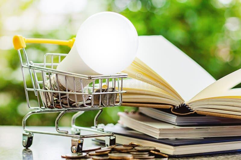 Lámpara del LED en mini carro de la compra o carretilla con la moneda del dinero y el st imagen de archivo libre de regalías