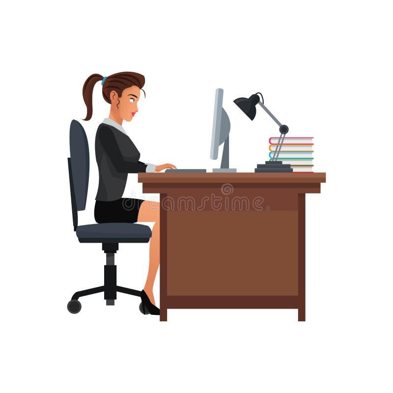 Lámpara del ordenador del escritorio del lugar de trabajo del negocio de la mujer stock de ilustración