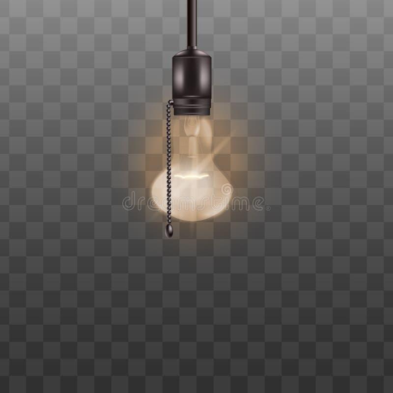 Lámpara del techo de la bombilla del Lit con la cuerda del interruptor aislada en fondo transparente ilustración del vector