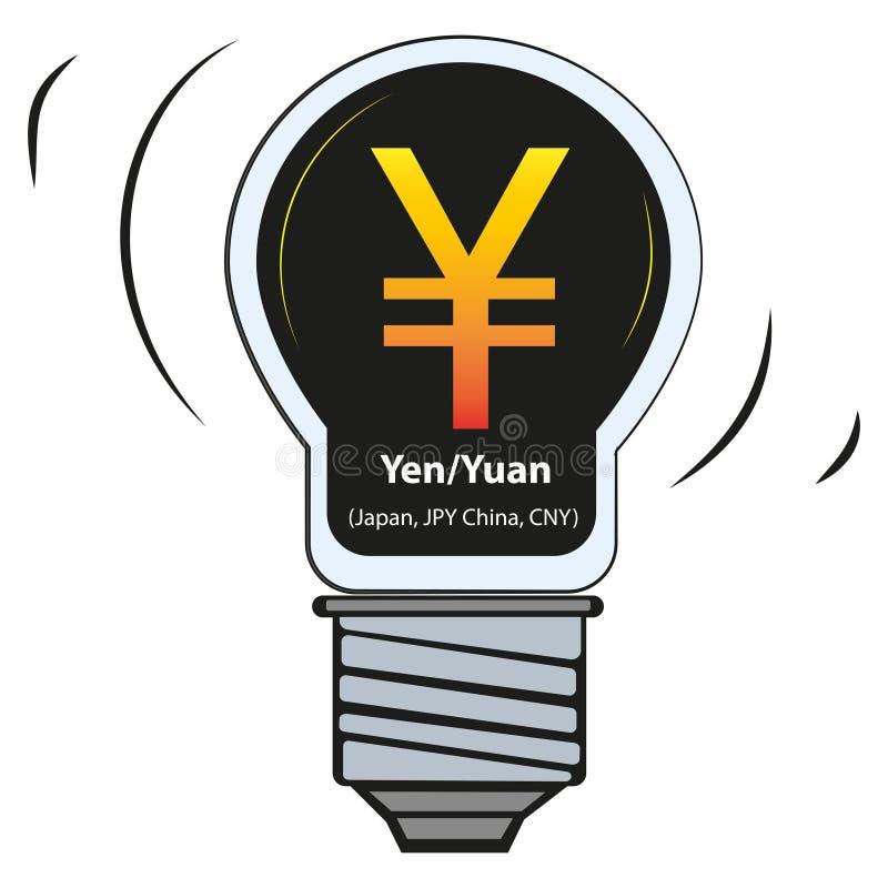 Lámpara del vector con la muestra de moneda - yen Yuan Japan, JPY China, CNY ilustración del vector