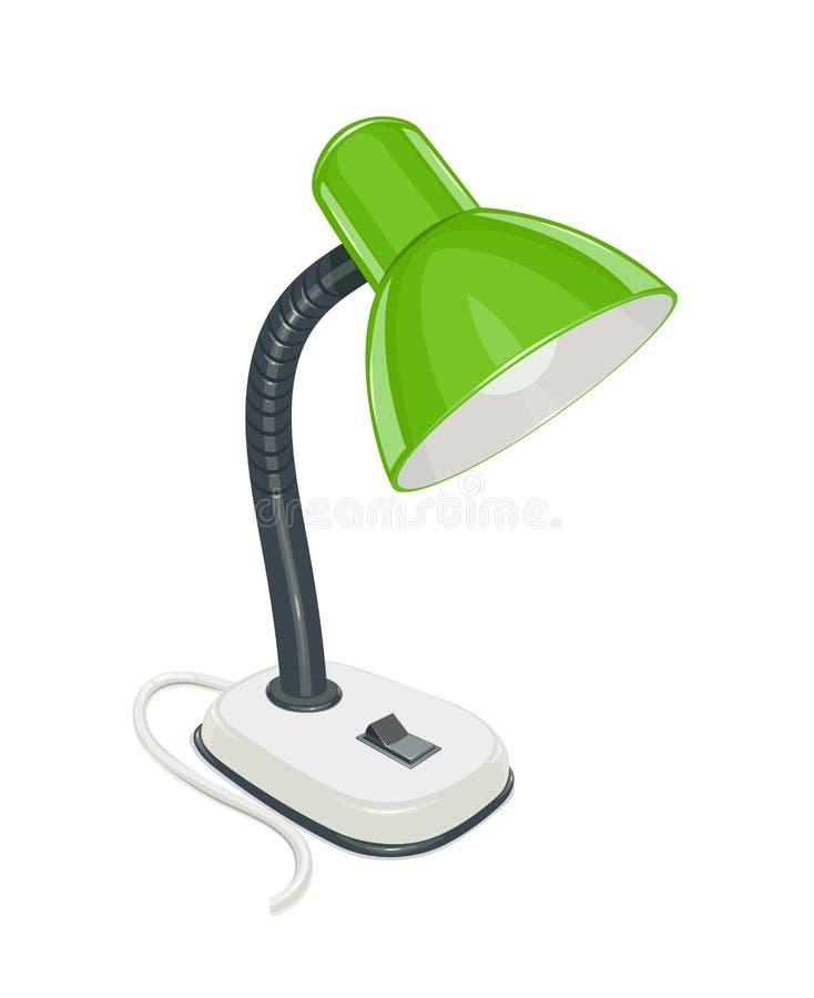 Lámpara eléctrica del escritorio con el casquillo verde ilustración del vector