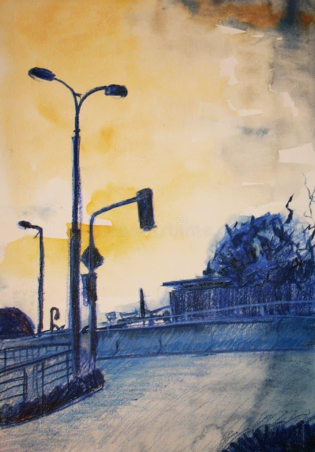 Lámpara en la calle imagenes de archivo