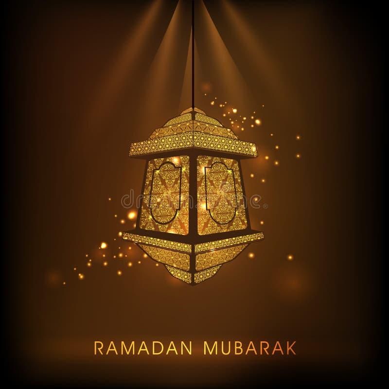 Lámpara floral para la celebración santa de Ramadan Kareem del mes de los musulmanes stock de ilustración