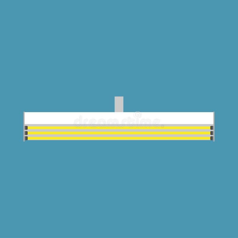 Lámpara fluorescente que cuelga vector eléctrico del concepto Ahorre el tubo llevado de neón de la luz plana de la invención Equi stock de ilustración