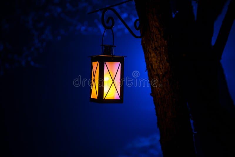 Lámpara iluminada colorida hermosa en el jardín en noche brumosa Linterna retra del estilo en la noche al aire libre fotografía de archivo
