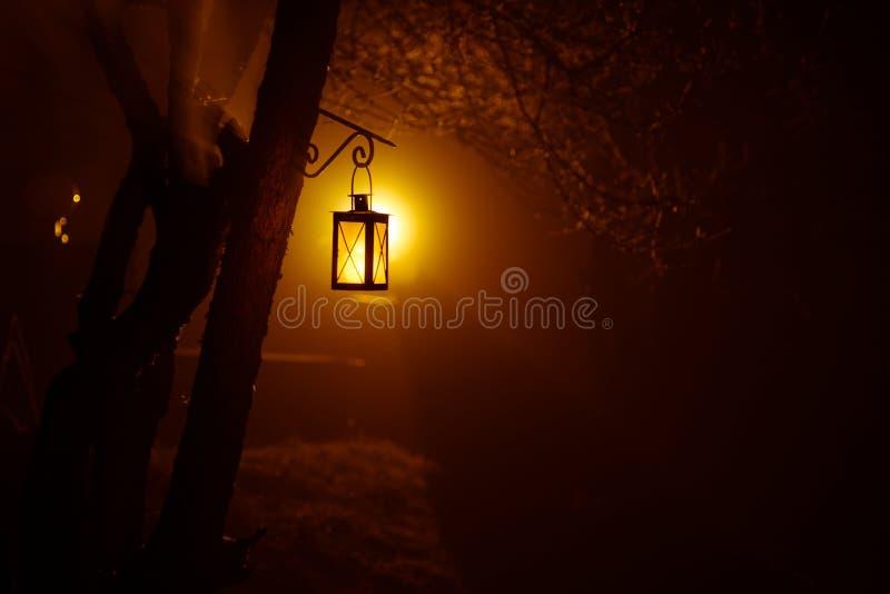 Lámpara iluminada colorida hermosa en el jardín en noche brumosa Linterna retra del estilo en la noche al aire libre fotos de archivo