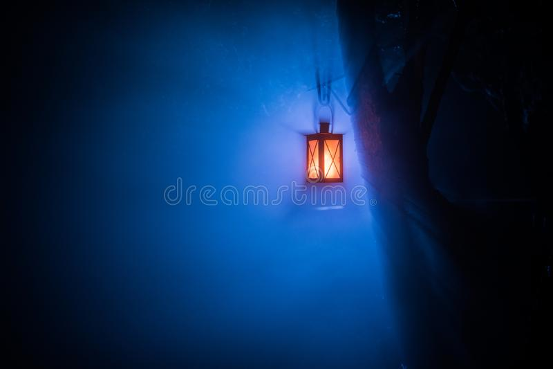 Lámpara iluminada colorida hermosa en el jardín en noche brumosa Linterna retra del estilo en la noche al aire libre imagen de archivo