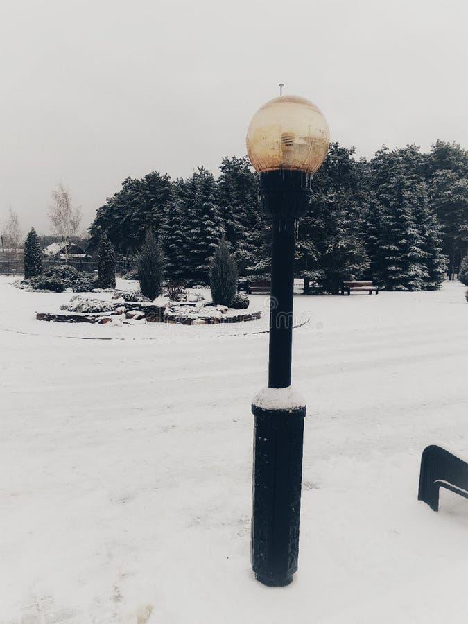Lámpara ligera en nieve del whinter fotos de archivo libres de regalías