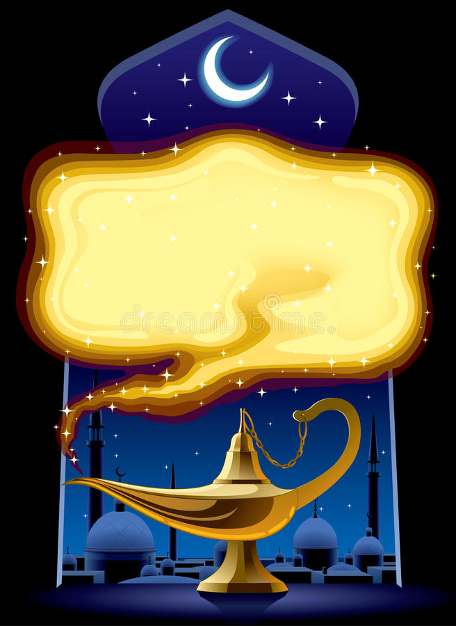 Lámpara mágica de Aladdin ilustración del vector
