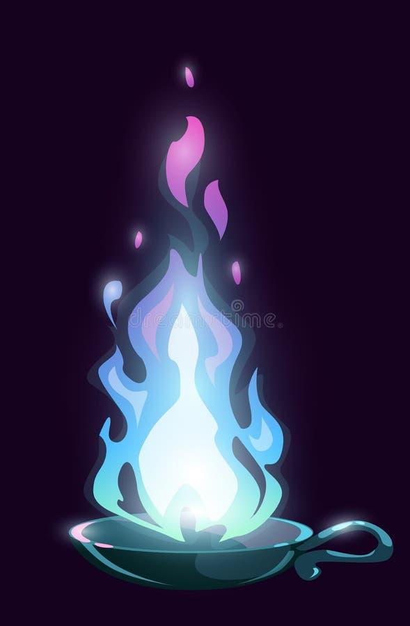 Lámpara mágica de la historieta con el fuego azul de hadas ilustración del vector