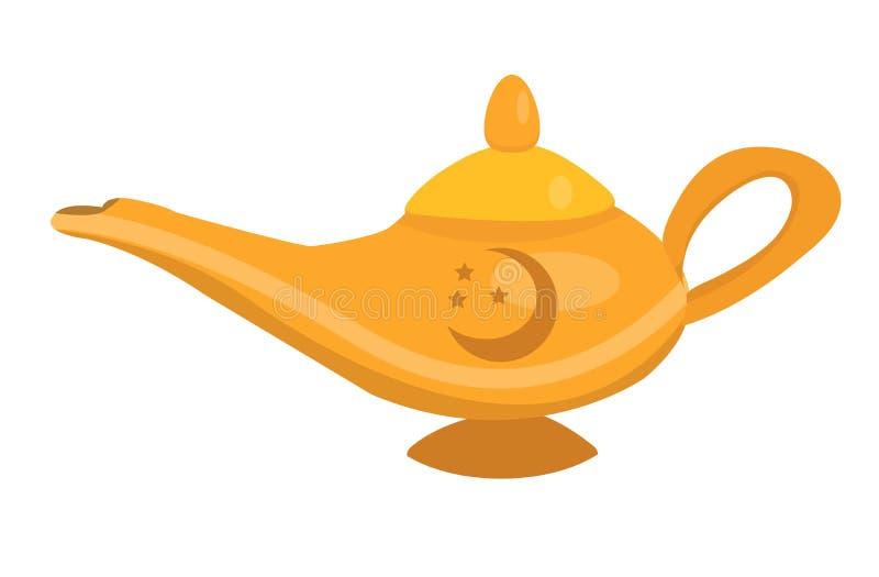 Lámpara mágica para el aceite, estilo plano del icono Aislado en el fondo blanco Ilustraci?n del vector ilustración del vector