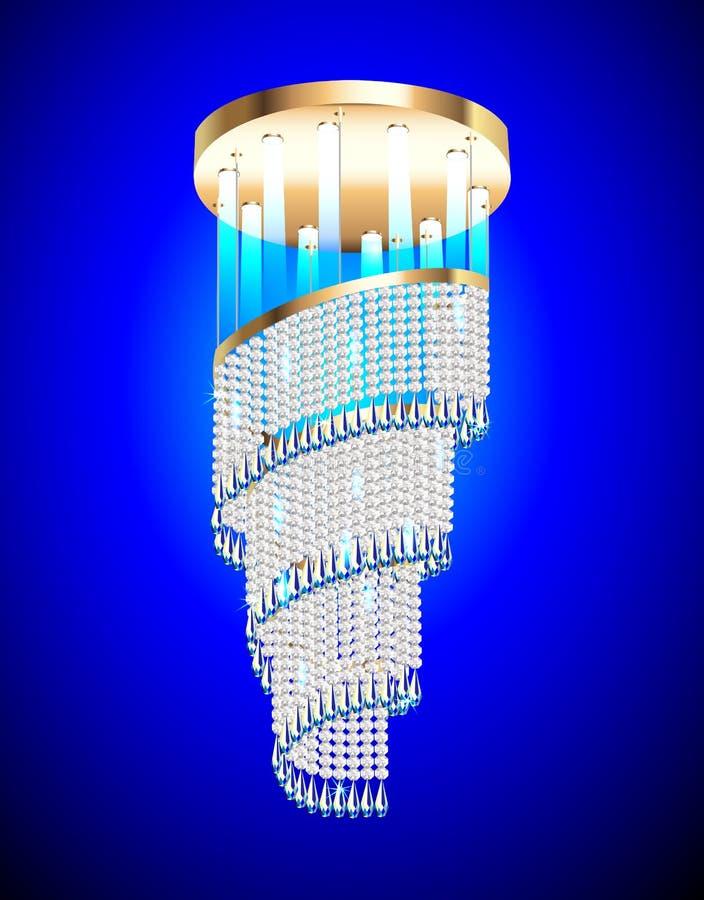 Lámpara moderna con los colgantes cristalinos ilustración del vector