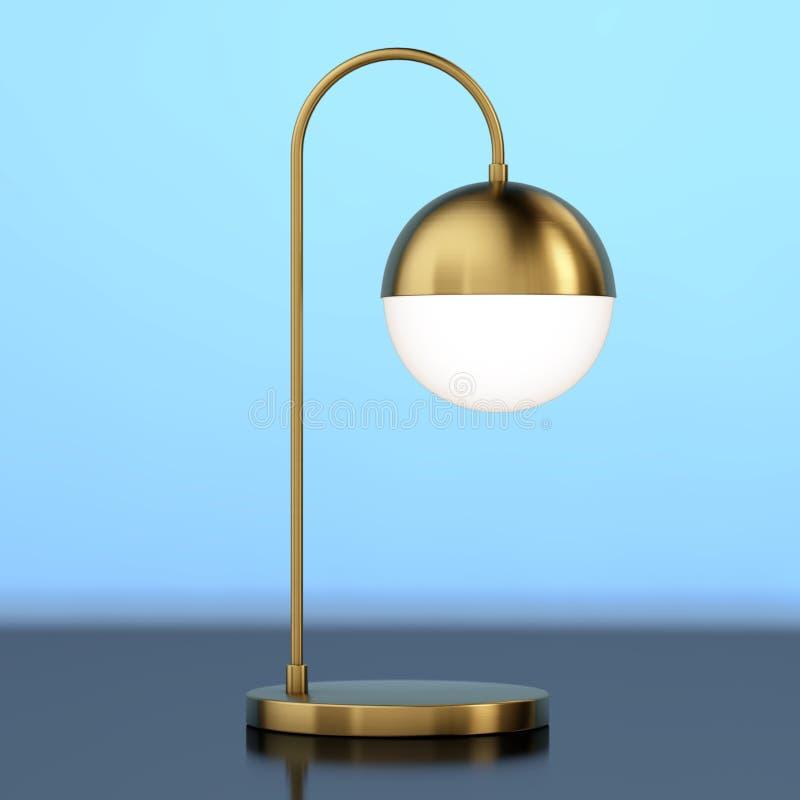 Lámpara moderna del bronce del metal del escritorio representación 3d stock de ilustración