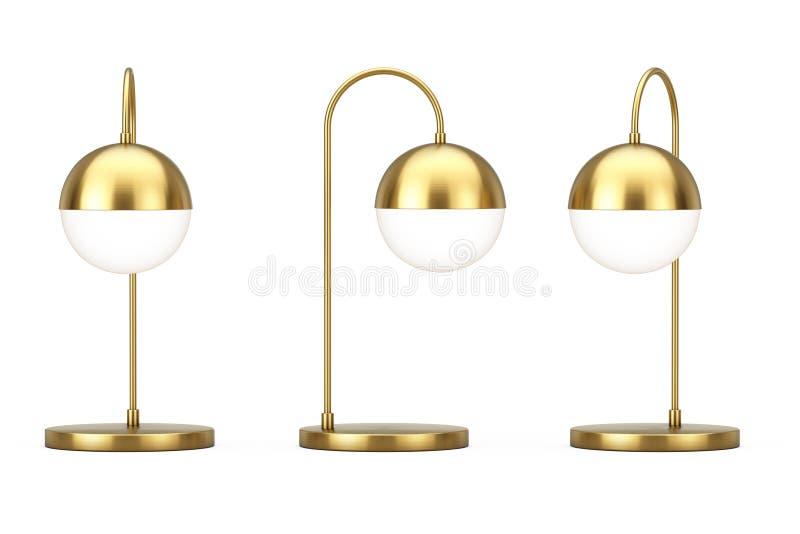 Lámpara moderna del bronce del metal del escritorio representación 3d ilustración del vector