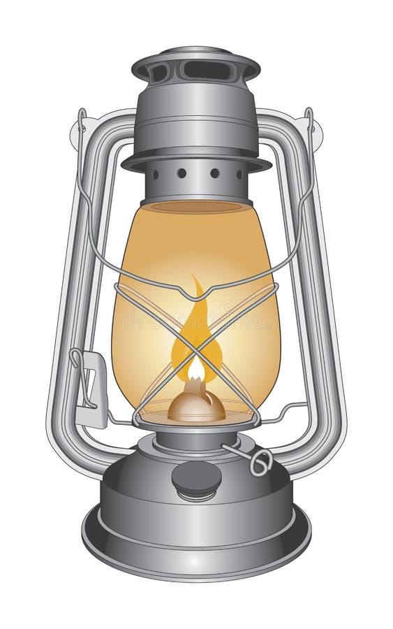 Lámpara o linterna de petróleo de la vendimia ilustración del vector