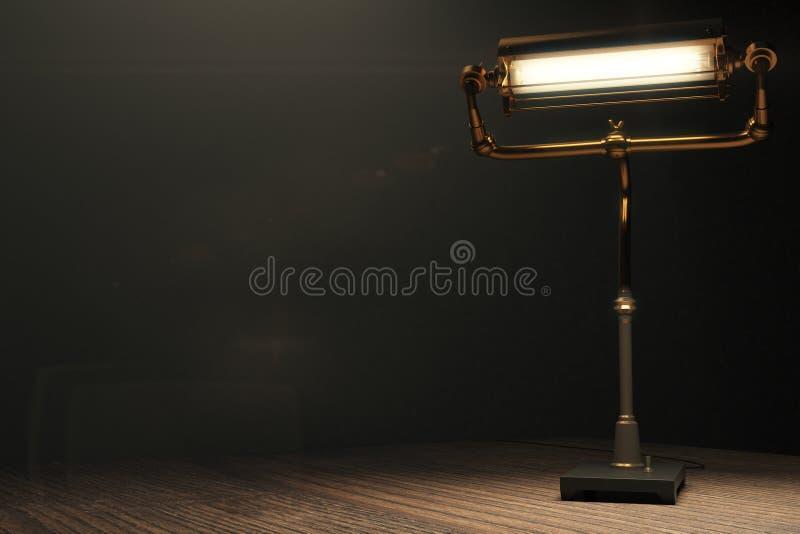 Lámpara que brilla intensamente en el estilo del steampunk en una tabla de madera stock de ilustración