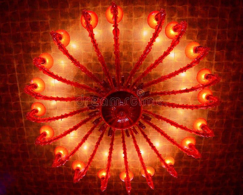 Lámpara roja del techo imagen de archivo