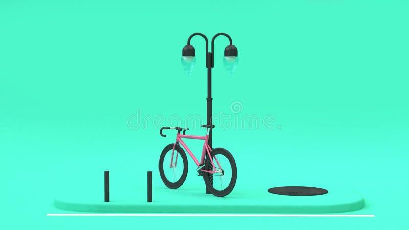 Lámpara rosada 3d de la trayectoria del pie de la calle rendir concepto de la ciudad del transporte que va libre illustration