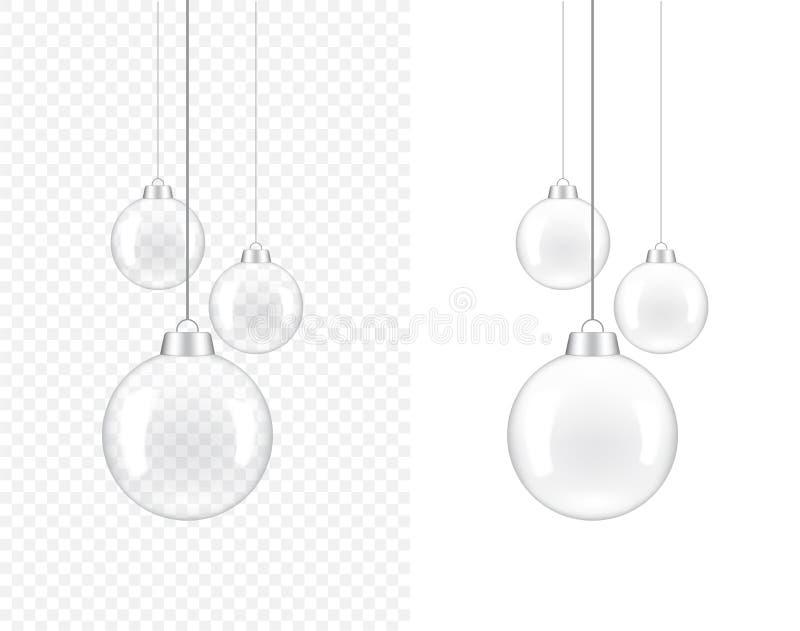 lámpara transparente realista 3D para la decoración interior en el ejemplo blanco del fondo ilustración del vector