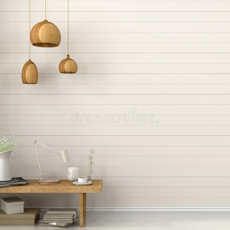 Lámpara y banco de madera ilustración del vector