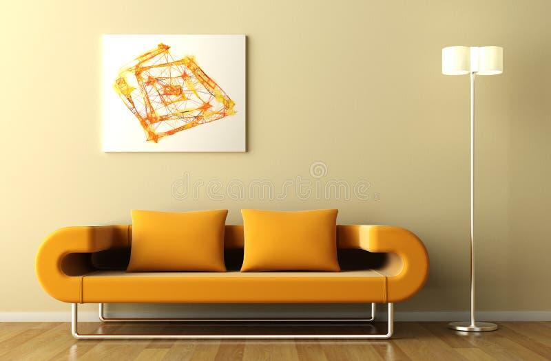 Lámpara y cuadro anaranjados del sofá
