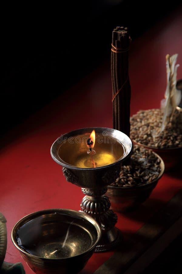Lámparas budistas de la mantequilla foto de archivo libre de regalías