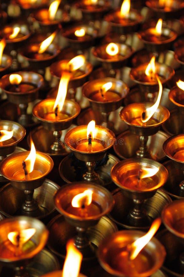 Lámparas budistas de la mantequilla imagen de archivo