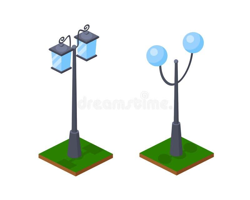 Lámparas de calle brillantes urbanas 3D que brillan a lo largo del parque, alumbrado público stock de ilustración