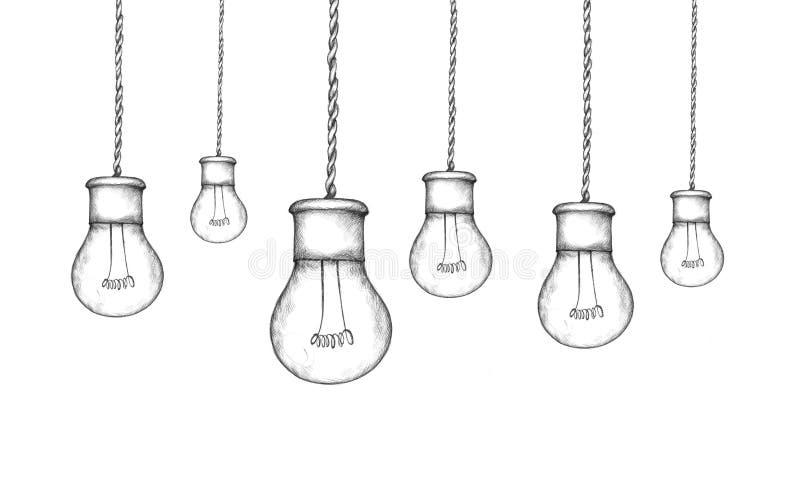 Lámparas de la ejecución en estilo industrial ilustración del vector