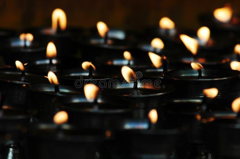 Lámparas de la mantequilla de yacs en Tíbet foto de archivo libre de regalías