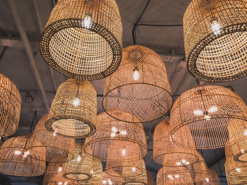 Lámparas de mimbre fotografía de archivo libre de regalías