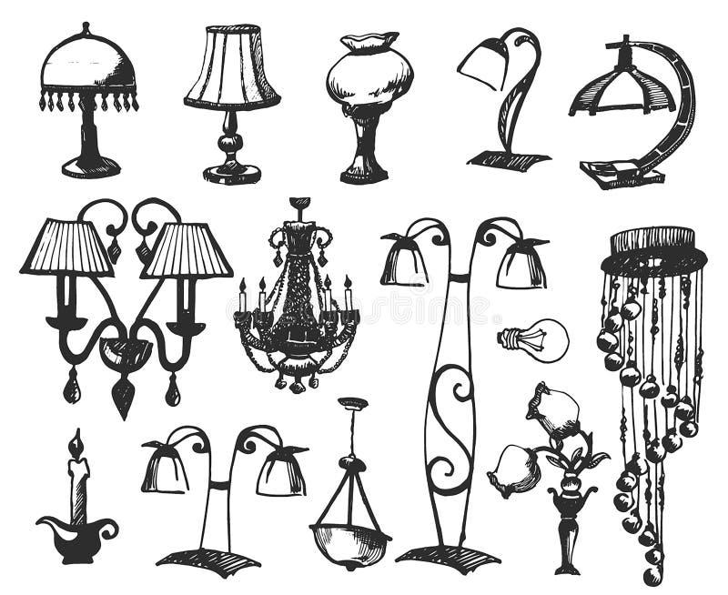 Lámparas determinadas aisladas en el fondo blanco Ejemplo del vector en un estilo del bosquejo ilustración del vector