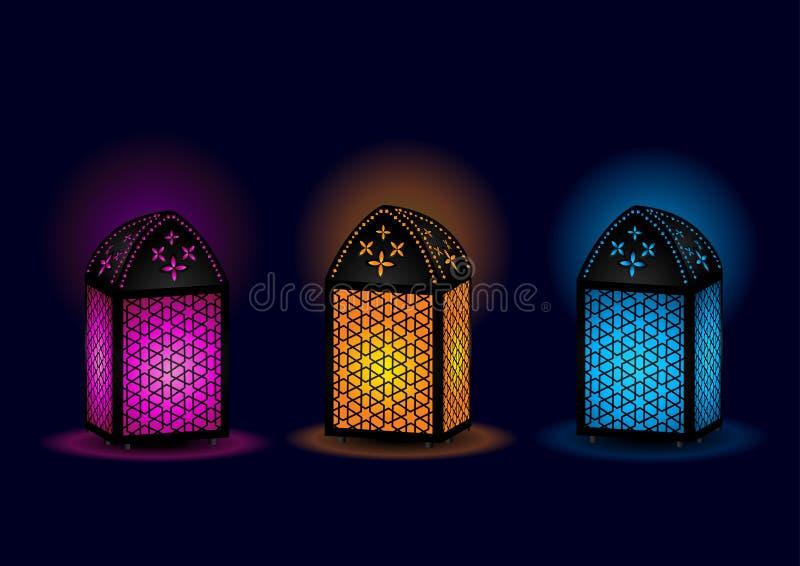 Lámparas egipcias hermosas - vector ilustración del vector