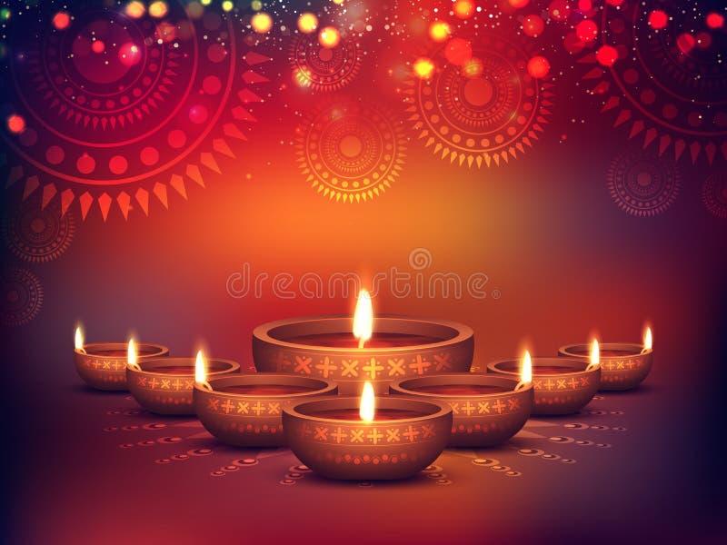 Lámparas iluminadas del Lit para la celebración de Diwali ilustración del vector