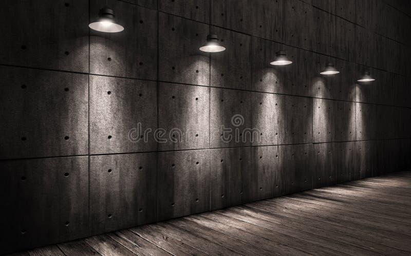 Lámparas iluminadas fondo industrial del techo del grunge imagenes de archivo