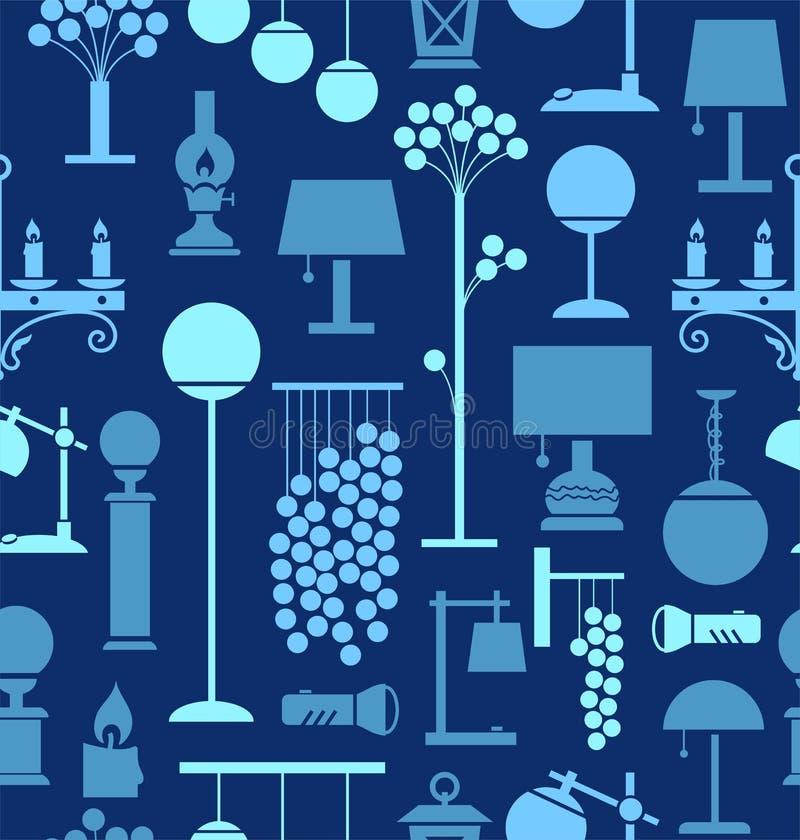 Lámparas para el hogar y el jardín, fondo, inconsútil, azul libre illustration