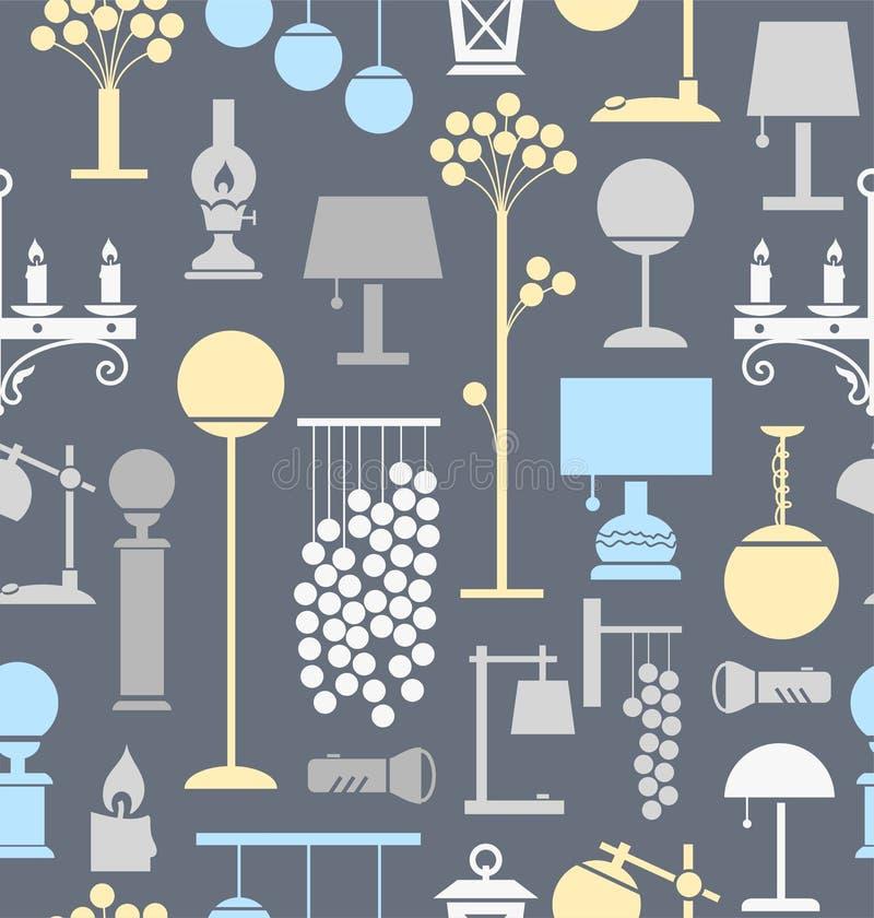 Lámparas para el hogar y el jardín, fondo, inconsútil, gris libre illustration