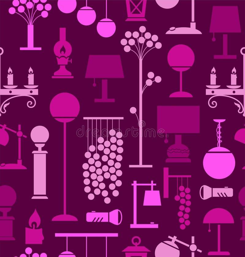 Lámparas para el hogar y el jardín, fondo, inconsútil, púrpura ilustración del vector