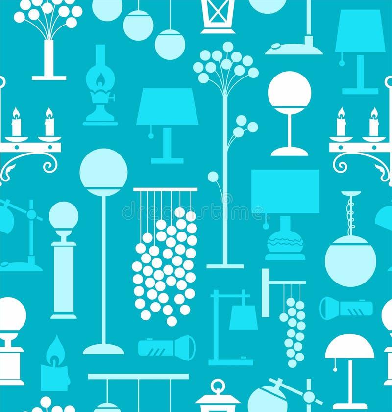 Lámparas para el hogar y el jardín, fondo, inconsútil, turquesa stock de ilustración