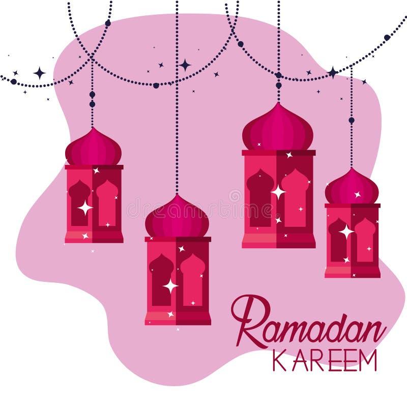 Lámparas que cuelgan a la religión del kareem del Ramadán ilustración del vector