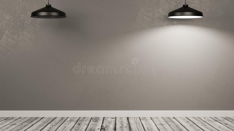 Lámparas que iluminan una pared de un cuarto vacío, una lámpara rota stock de ilustración