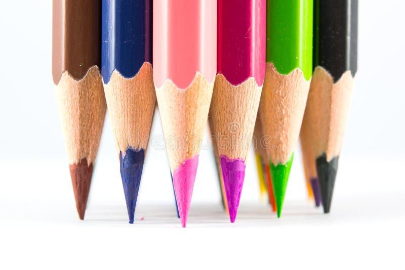 Lápices acentuados del color fotografía de archivo libre de regalías