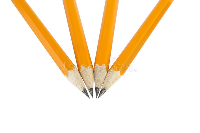 Lápices amarillos con el borrador en el fondo blanco foto de archivo libre de regalías